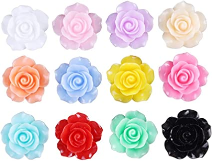 12 x resin rose flower plastic flat back cabochon Assorted 19-20mm FREE POST