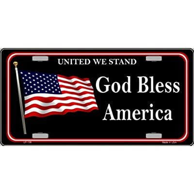 Smart Blonde God Bless America United We Stand Vanity Metal Novelty License Plate Tag Sign: Automotive