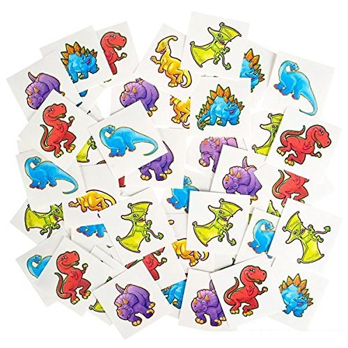 [Dinosaur Temporary Tattoo Kit 144 Pieces – 2 Inch Kids Dino Assortment- Bright & Colorful Temporary Tattoo Toys For Kids And Adults - By Katzco] (Temporary Christmas Tattoos)