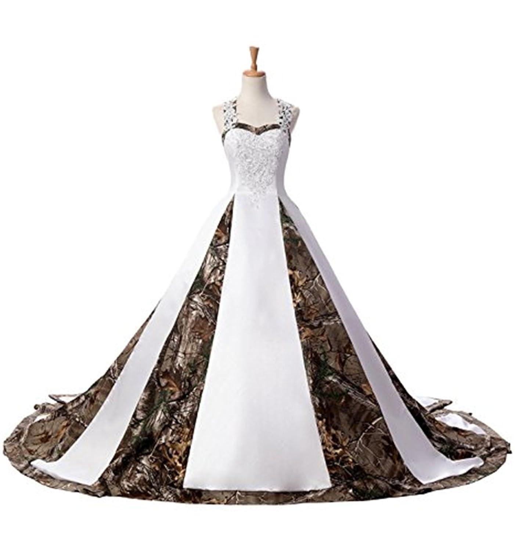 BEALEGAN Lady Women\'s Camo Wedding Dresses Camouflage Satin Bridal ...