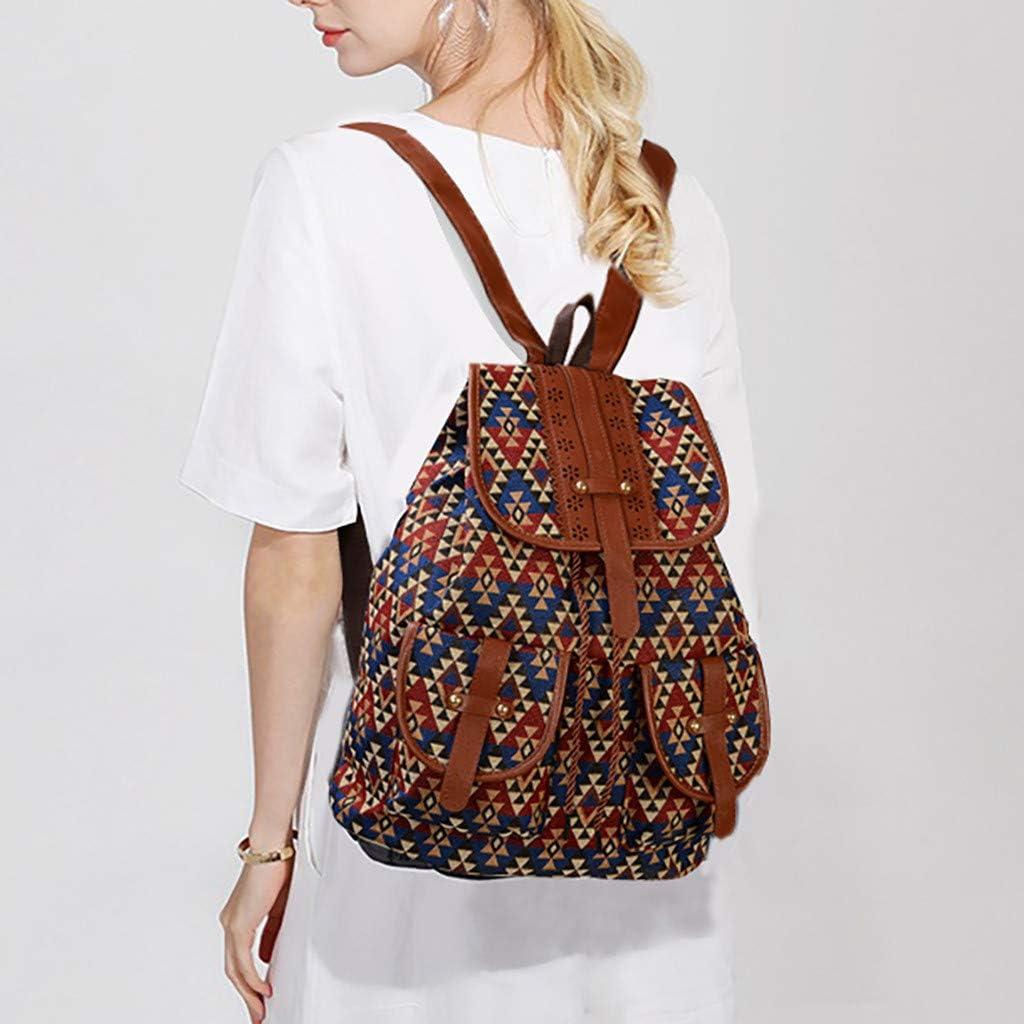 TOPBIGGER Womens Backpack Retro Canvas Casual Backpack Fashion Printing Drawstring Messenger Bag Ethnic Wind Bag