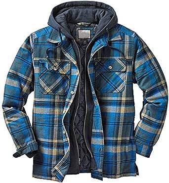 Minetom Camisa Térmica Hombre Camisa Chaqueta Invierno Forro Protector Camisa Leñador Camisa Trabajo Cordón con Capucha