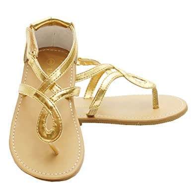 a78435e7c04d2 Toddler Girls Gold Loop Strap Spring Sandals Shoes 7  Amazon.co.uk ...