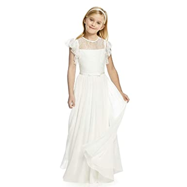 3edae7d18 AbaoSisters Flutter Sleeves A-Line Flower Girl Dress (Size 2, Ivory)