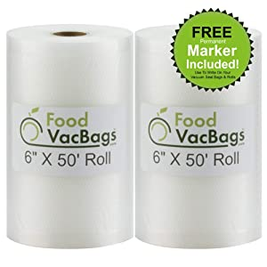 "Two 6"" X 50' Rolls of FoodVacBags Vacuum Sealer Bags for Foodsaver and other vacuum sealer machines"
