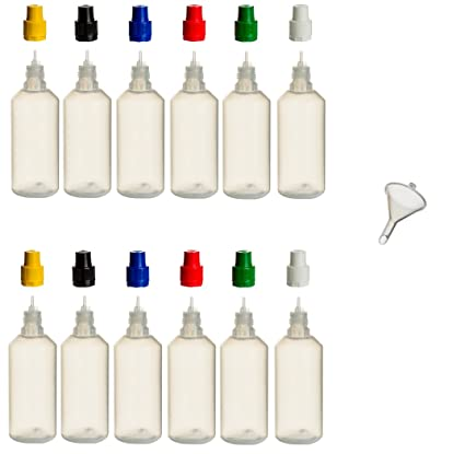 12 Unidades de botellas de 100 ml PP con tapas de colores + relleno de embudo