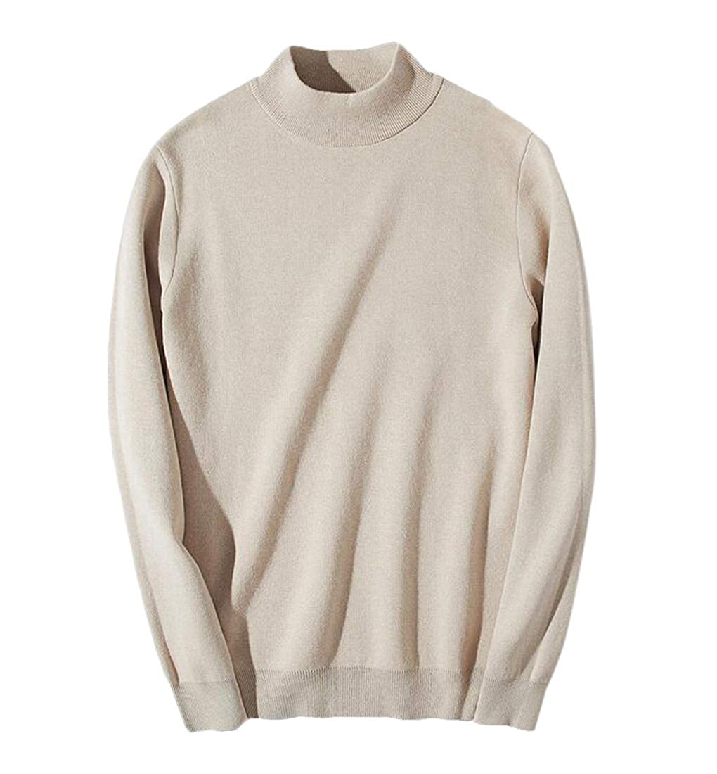 BYWX Men Winner Autumn Casual Shawl Collar Pullover Knit Ribbed Sweaters