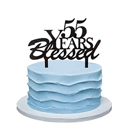 Amazon.com: 55 Years Blessed Cake Topper, 55th Birthday Party ...