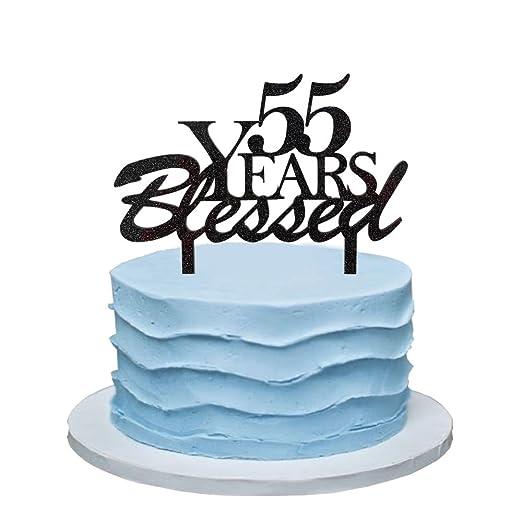 Amazon.com: 55 años Bendecido tarta, 55th decoraciones de ...