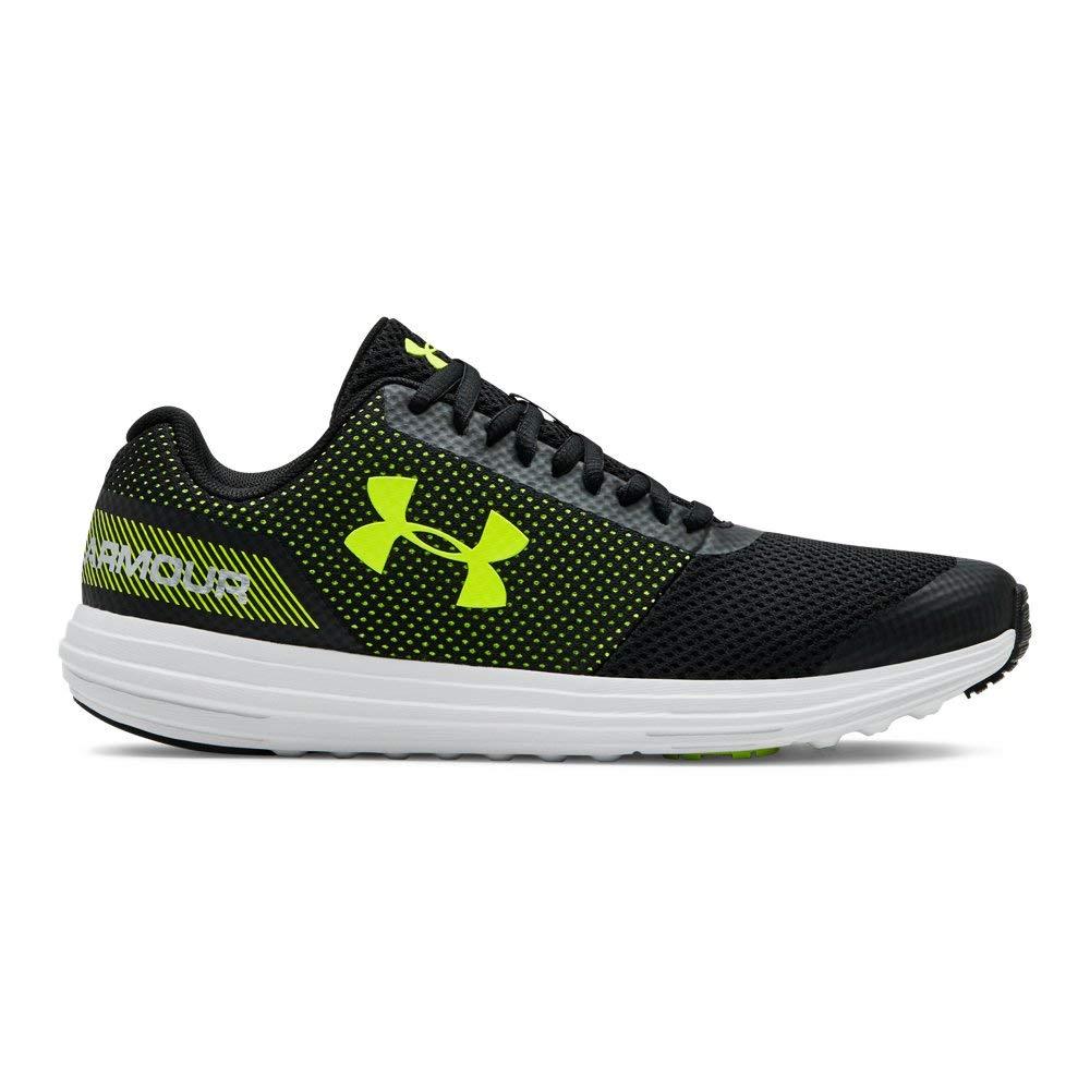 Under Armour Boys' Grade School Surge RN Sneaker, Black (003)/White, 3.5