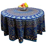 Handmade 100% Cotton Elephant Mandala Floral 81'' Round Tablecloth Blue