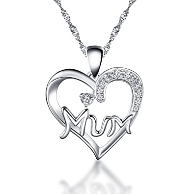925 Sterling Silver Rose Gold plated Mum Heart Pendant Necklace with White CZ including 16 - 20 inch Singapore chain wvVpFene7T