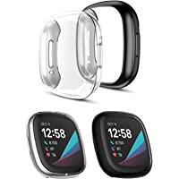 T Tersely Protective Case Cover for Fitbit Versa 3 / Sense (2020), (2 Pack) Full Body Screen Protector Case TPU All…
