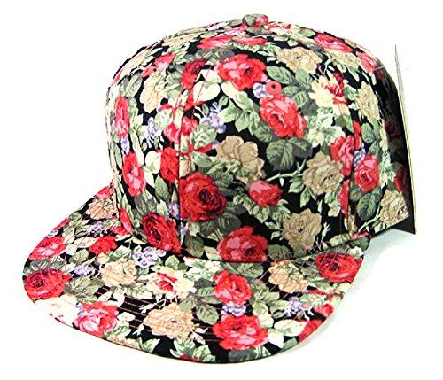 Rose Garden Snapback Floral Hawaiian Print Hat Cap ()
