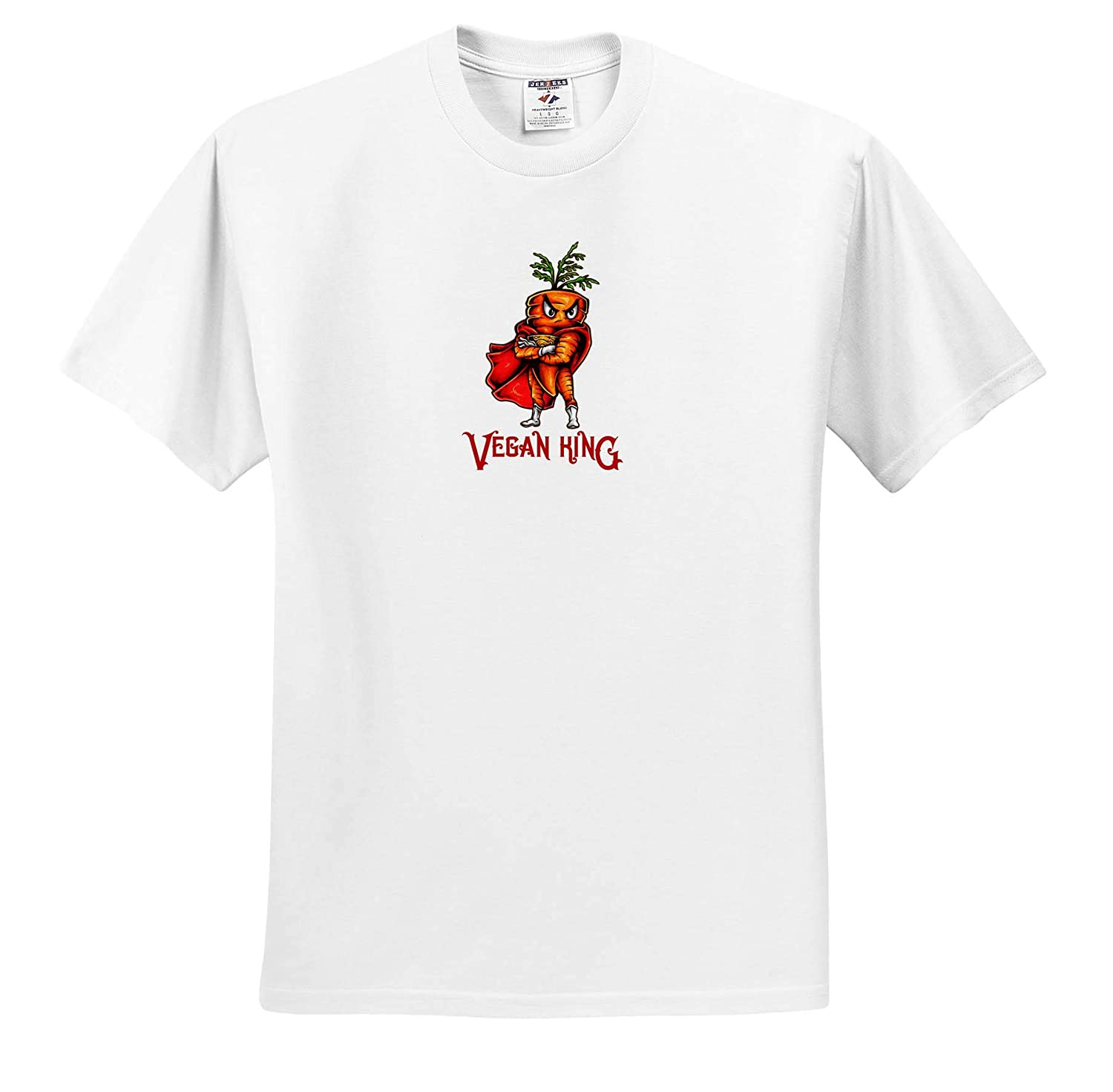 T-Shirts 3dRose Alexis Design Funny Characters Funny Decor Funny Cool Looking Carrot A Text Vegan King