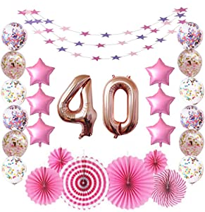 40 Rose Gold Number Foil Balloons for 40th Birthday Party Sign Supplies, Adult Men/Women's 40 Years Old Birthday Party Decorations