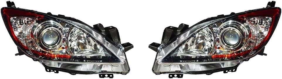 New Depo Headlight Set For 2010-2013 Mazda 3 Driver /& Passenger Side