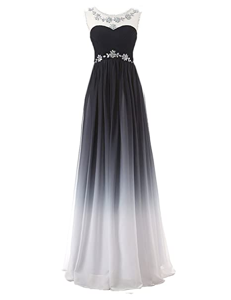 bright in luster united kingdom 100% high quality Belle House Women's Gradient Color Chiffon Formal Evening Dress Long Prom  Gown