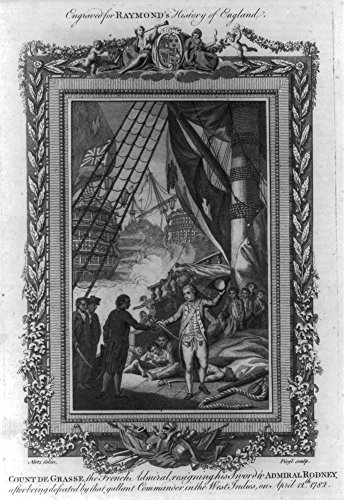 1785 Photo Count de Grasse, the French admiral, resigning his sword to Admiral Rodney, after being defeated by that gallant commander in the West Indies, on April 12th 1782 / Metz delin. ; Fiegl sculp