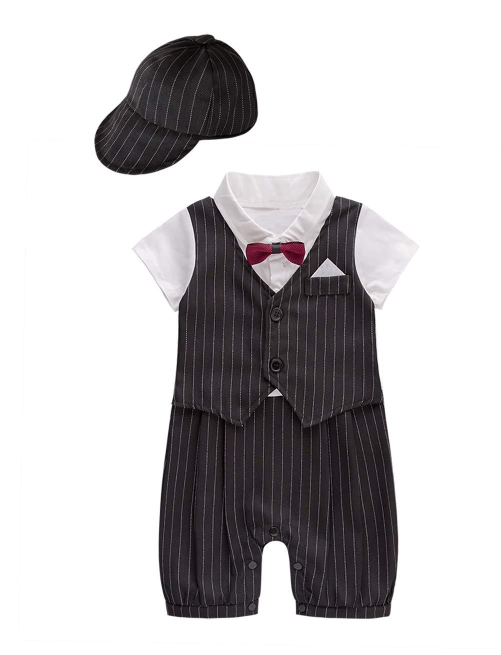 XM Nyan May's Baby Toddler Boys Bowtie Faux Vest Romper Onesie (3-6 Months, Black B)