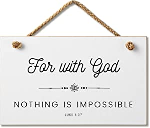 Marvin Gardens Designs Farmhouse Style Bible Verse Wall Decor Wood Sign 9.5 x 5.5 Inch Wood Made in The USA (Nothing is Impossible (White), 9.5 x 5.5)