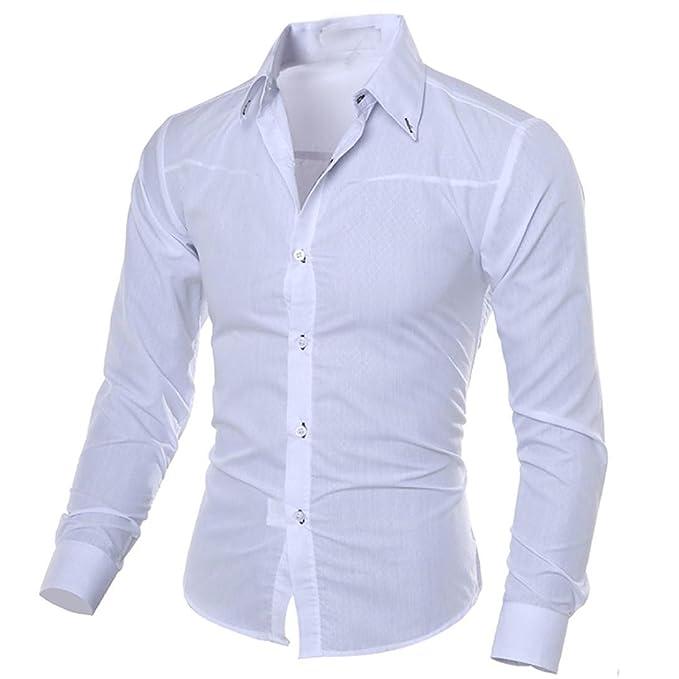 check out b9181 bdcea Kword Maglietta di Uomo Eleganti,Uomo Business Camicia Casual Maniche  Lunghe Camicie Slim Fit Top Camicetta Uomo Felpe Tumblr