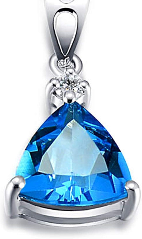 Blisfille Colgante de Aguamarina Diamante de 1.6ct Joyería Collar de Fiesta Mujer Piedra Colgante Corazon Oro 18 Kilates