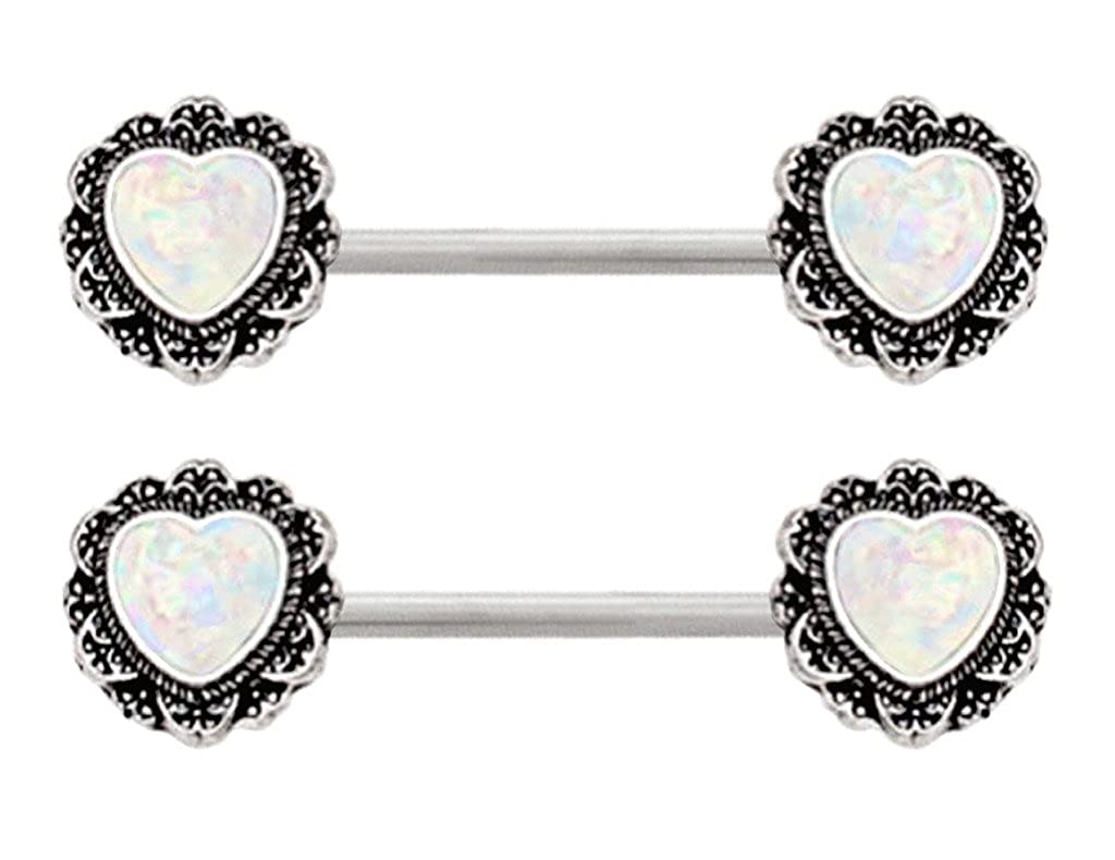 Pair of Sparkling synthetic White Glitter fire Opal Filigree Heart ends Nipple bar rings