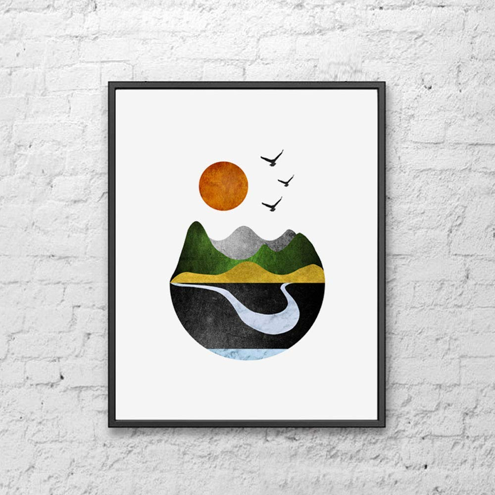 Mountains Art Print Sun Minimal Home Decor Wall Print Geometric Art Minimalist Art Modern Wall Art Abstract Scandinavian Wall Art 8x10 inch Unframed