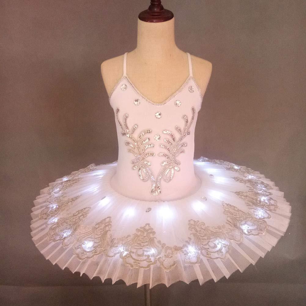 - JIE. Costume de Danse de Ballet-étudiant Stade Costume Fluorescent Tutu,blanc,120cm