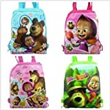 5a8c795a31 Lowpricenice 4pcs Masha bear Drawstring Backpack Party Bags Cartoon Package  Kid Gifts