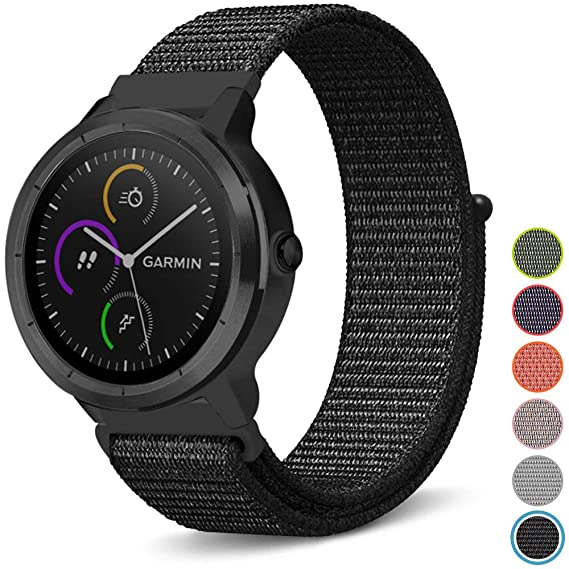 C2D JOY Compatible with Garmin vivoactive3(M)/vivomove(HR)/FR645(M) Replacement Bands GPS Smartwatch Sport Loop Band - Soft Breathable Nylon Weave ...