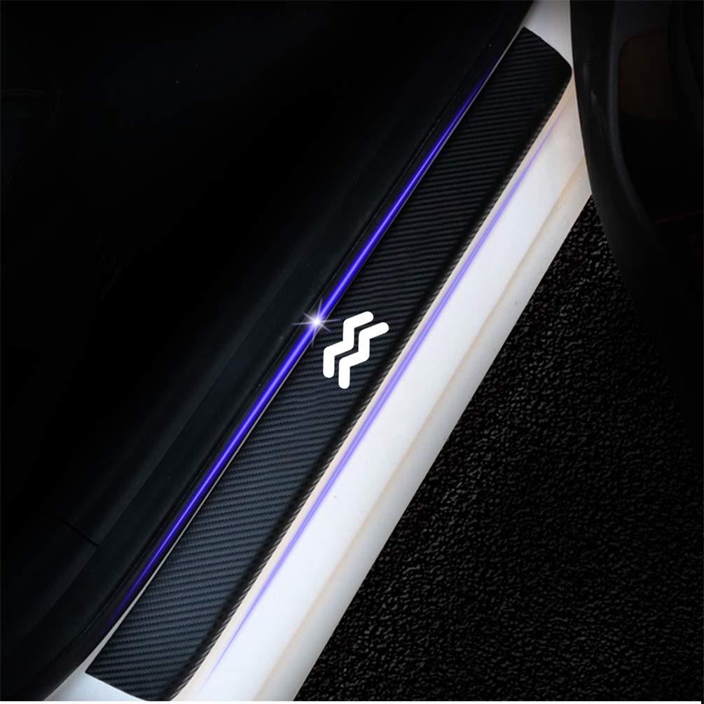 Automotive Door Entry Guard Door Sill Protector Reflective 4D Carbon Fiber Door Sill Scuff Plate Stickers Adhesive Anti-Kick Auto Accessories 4Pcs blue