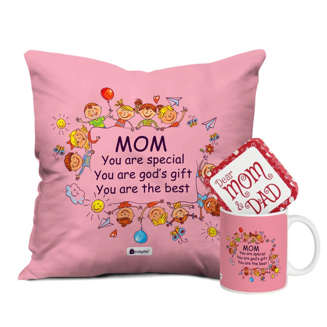 Indi ts for Mom Mothers Day Birthday Anniversary Mom Special God s Gift Light Pink Printed Small Cushion 12X12 with Filler Ceramic Mug Everyday Home