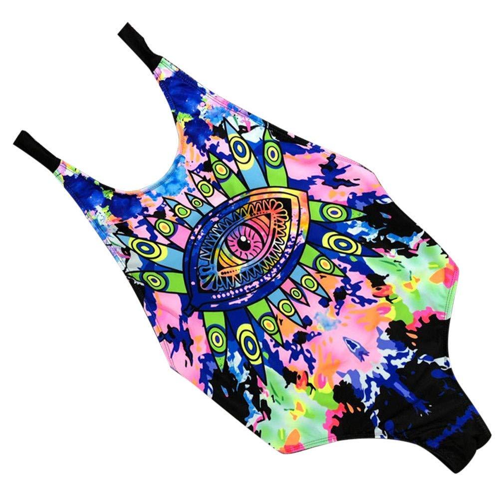 Balakie Swimsuit for Women, Sexy One Piece Bikini Push-Up Padded Swimwear print Slinky multi-rope Bathing Suit (L, Blue) by Balakie
