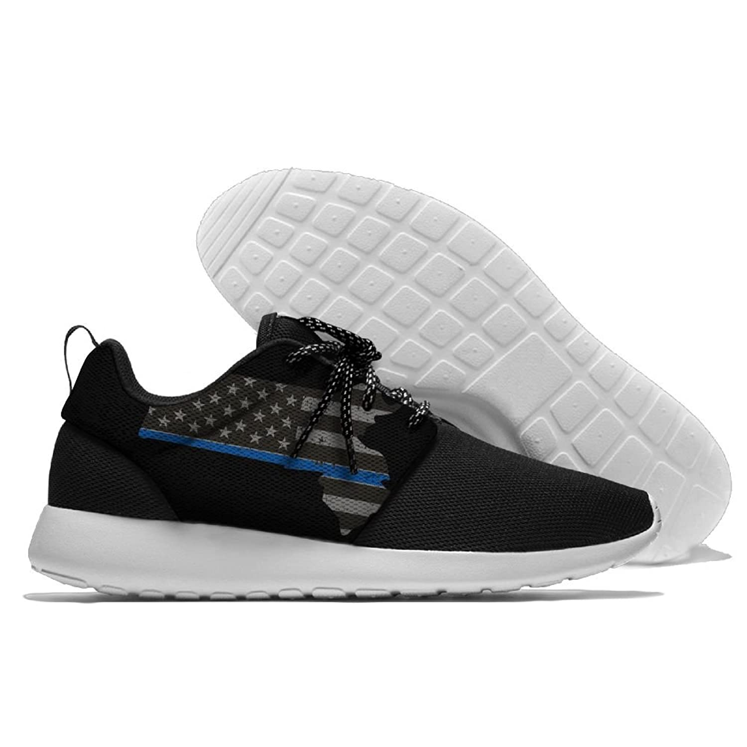 Men Women Gym Shoes Athletic Sneakers Massachusetts Thin Blue Line Flag Mesh Exercise Shoes Running Shoes