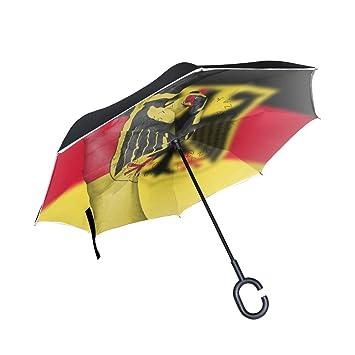 FAJRO- Paraguas reversible con bandera alemana OK Cars, doble capa, invertido, resistente