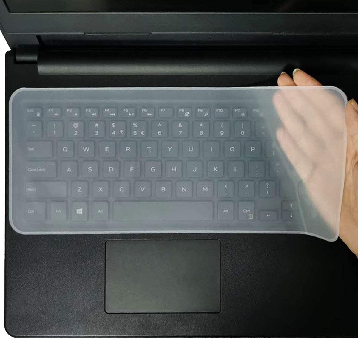 "12.48"" x 5.2"" Universal Keyboard Cover Skin Design for 13.3""-14"" Laptop Notebook (Without Numeric Keypad Keyboard), Ultra Thin Silicone Waterproof Keyboard Cover Protector-Clear"
