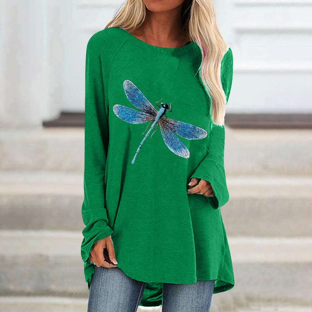 Long Sleeve Graphic Tees for Women Vintage Edgy Dragonfly Print Tunic Tops Fall Casual Loose Fit Lightweight Sweatshirts