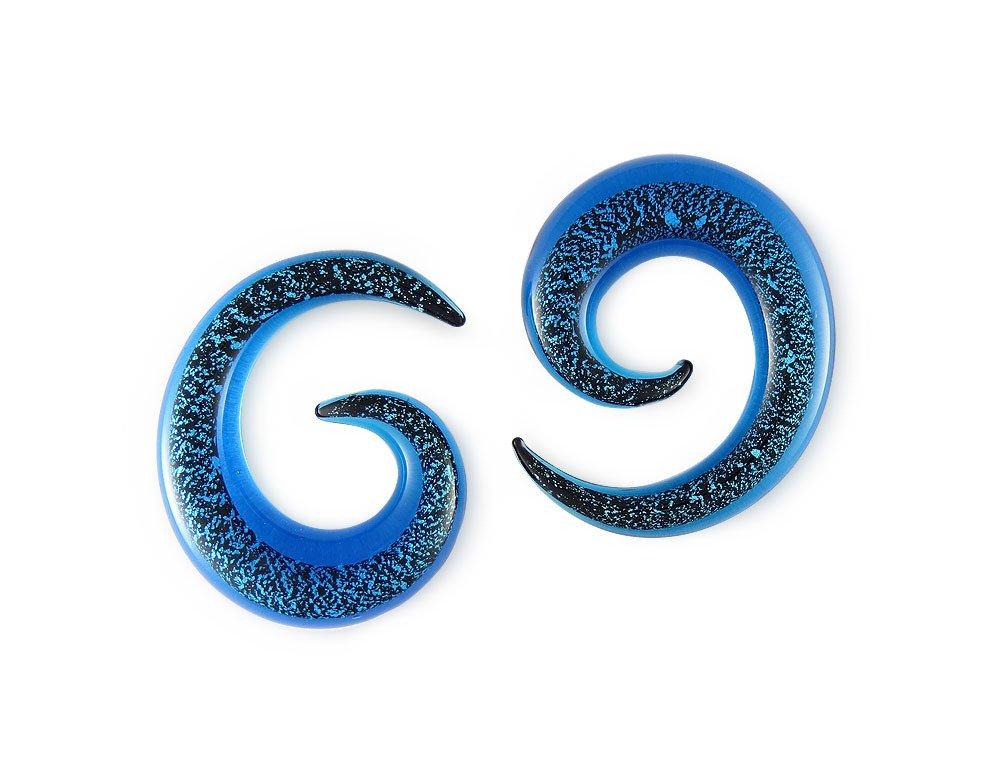 Pair Aqua Glitter Pyrex Glass Spiral 0g 0 gauge 8mm