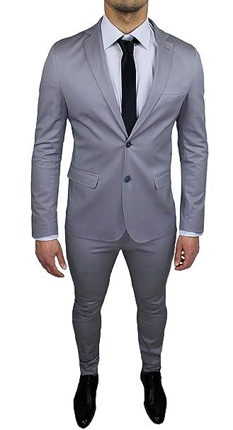 39d239f26a9eff Abito Uomo Sartoriale Grigio Chiaro Completo Vestito Slim Fit Made in Italy  Cotone Elegante e da Cerimonia: Amazon.it: Abbigliamento