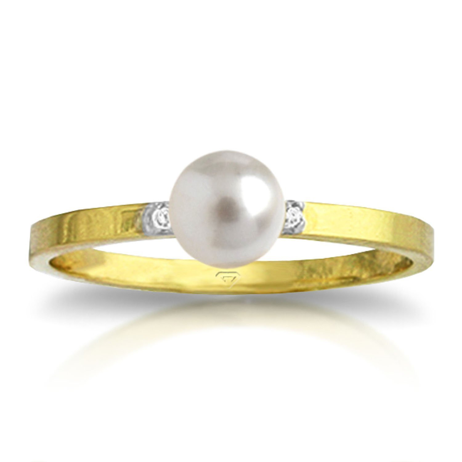 1.02 Carat 14k Solid Gold Ring with Natural Diamonds and Freshwater-cultured Pearl - Size 7.5