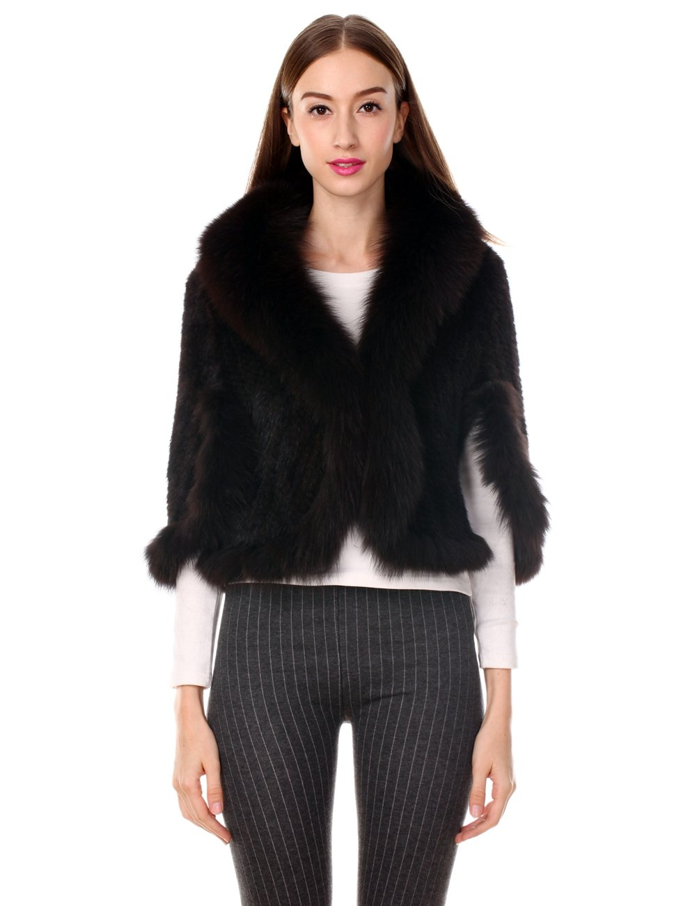 Ferand Real Knitted Mink Fur Stole with Fox Fur Collar, One Size Fits All for Women, Brown