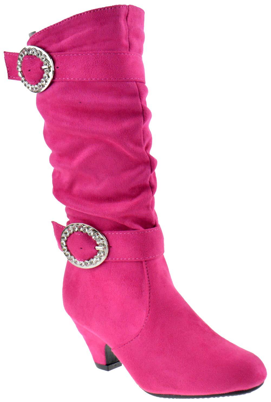 Link Pauline 18S Little Girls Rhinestone Buckle Knee High Dress Boots Fuchsia 3
