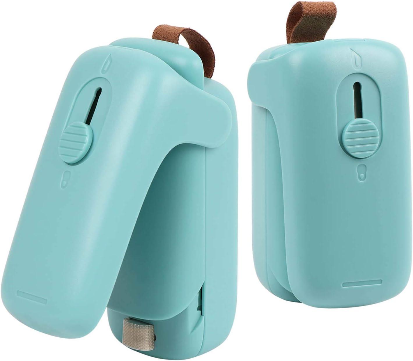 2 Pieces Bag Sealer Mini , 2 in 1 Bag Sealer Heat Seal Handheld Heat Vacuum Sealer with Cutter Portable Bag Resealer Sealer for Plastic Bags Food Storage Fruit Snack Fresh Bag Sealer (Battery Not Included)