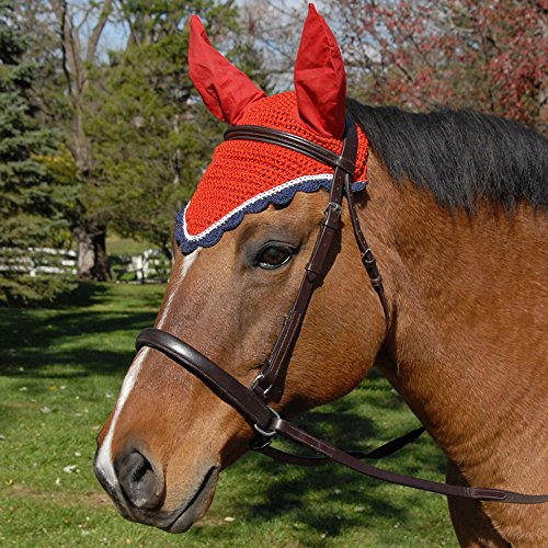 Fly Veil - All Crochet Fly Veil with Ears Horse Size Horse White / Red / Navy