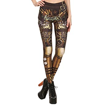 SIOPEW Hosen Frauen Steampunk Retro Leggings Comic Cosplay Print Strengende Enge Röhrenhose Overalls Röcke Shorts Strumpfhose
