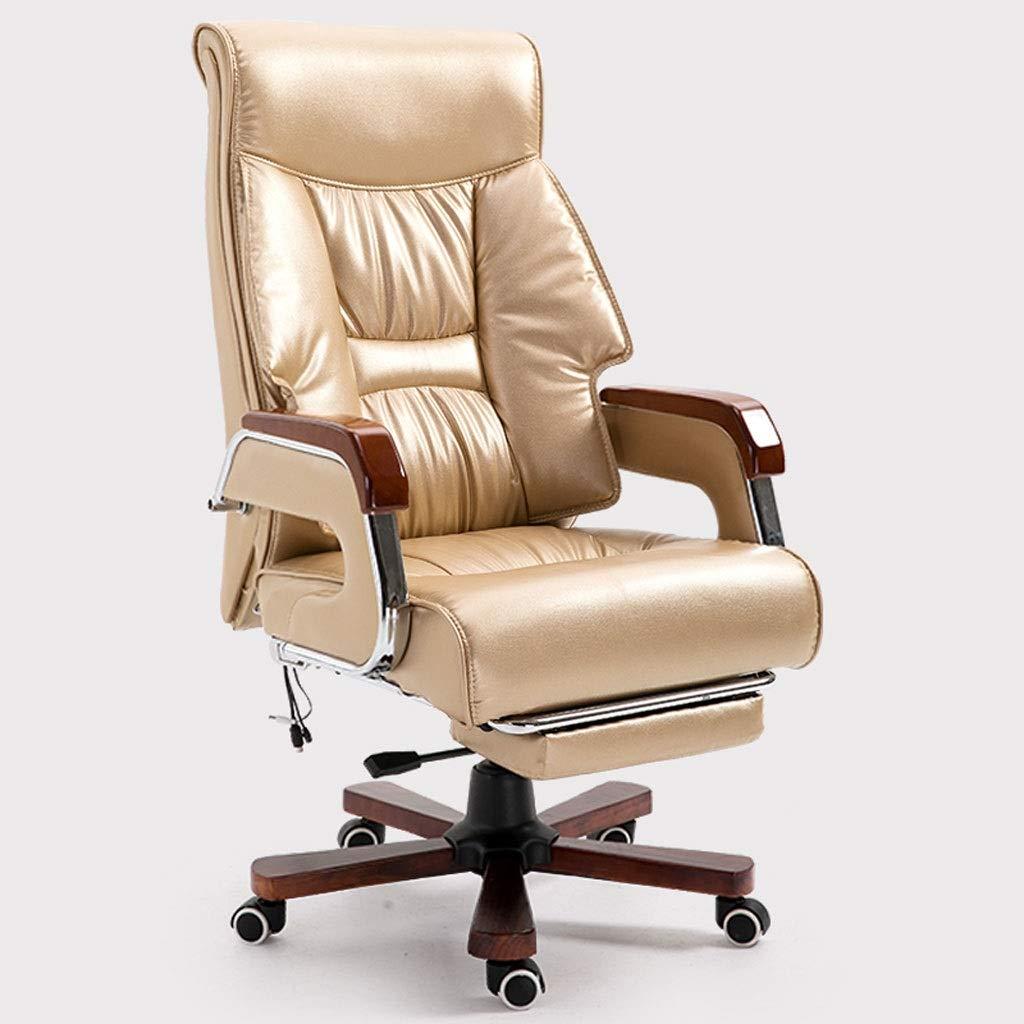Ace lby roterande kontorsstol, chef kontorsstol, hög rygg PU läderjusterare, extra tjock datorstol, ergonomisk kontorsstol – brun/guld Guld Brun