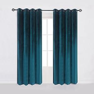Cherry Home 52-Inch-by-96-Inch Velvet Blackout Grommet Curtain Panel, Dark-green