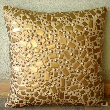 "Handmade Gold Accent Pillows, 3D Sequins Pillows Cover, 16""x"